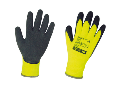 Latex-Acryl Winterhandschuh ELITE Thermo-Grip schwarz-gelb Gr. 9/L