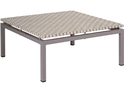Lounge-Hocker Lucy Aluminium taupe mit Gurtbespannung natur